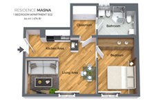 Floorplan of a one bedroom apartment type 4 in Residence Masna