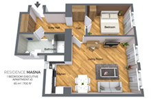 Floorplan of a a one bedroom apartment type 3 in Residence Masna