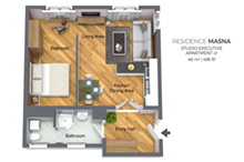 Floorplan of Residence Masna studio apartment type 1