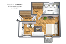Floorplan of a studio apartment type 2 in Residence Masna